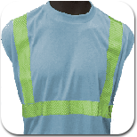 blue t-shirt with green reflective stripes