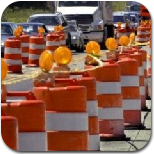 Work zone with traffic cones and reflectors