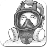 sketch of person wearing full-face respirator