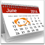calendar June 2016 with the 6th and 7th circled
