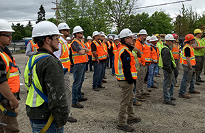 Layton Constrtuction Company employees listening to speakers during the National Safety Stand-Down