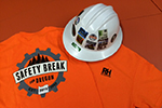 t-shirts and stickers with the Safety Break for Oregon logo